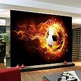 Hhkkckカスタマイズされたサイズ3D消防サッカー写真壁画不織布現代の少年の部屋リビングルームテレビソファ背景壁クールな家の装飾-160X120Cm