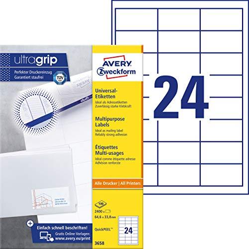 Avery Zweckform 3658 Adressaufkleber (mit ultragrip, 64,6 x 33,8 mm auf DIN A4, Papier matt, bedruckbare, selbstklebende Adressetiketten, 2.400 Klebeetiketten auf 100 Blatt) weiß