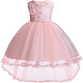 Girls Pageant Party Dresses Hi-Low Lace Flower Girl Dress