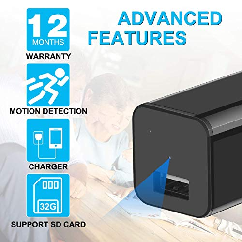 OumuEle Mini Spy Hidden Camera, Wireless HD 1080P USB Charger Camera Nanny Hidden Video Cam with Remote View/Motion Detection/Loop Recording for Home Security Surveillance