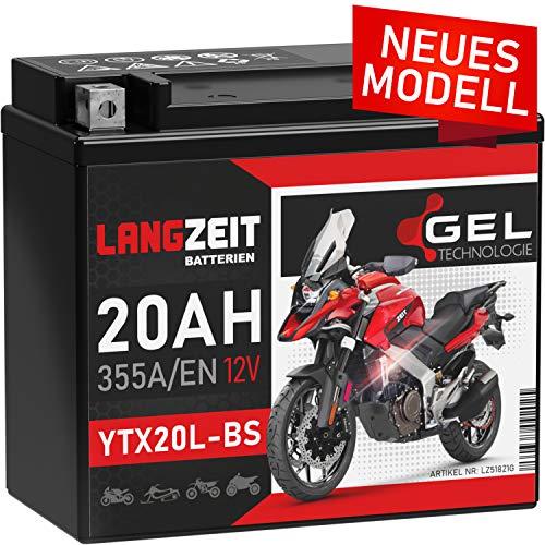 LANGZEIT YTX20L-BS GEL Motorradbatterie 12V 20Ah 355A/EN GEL Batterie 12V 51821 GTX20L-BS CTX20L-BS doppelte Lebensdauer entspricht vorgeladen auslaufsicher wartungsfrei