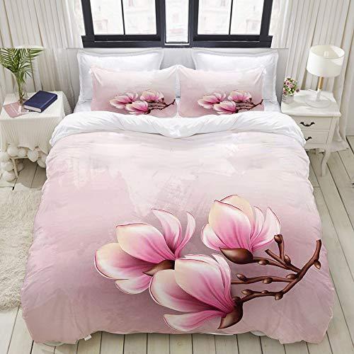 MIGAGA Bedding Bettwäsche-Set,Zerbrechliche Blumenblätter der Magnolien-Blumen-Blüte auf Bürste strichen Background,Mikrofaser Bettbezug und Kissenbezug - (135 x 200 cm)