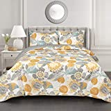 Lush Decor Yellow & Gray Layla Quilt Floral Leaf Print 3 Piece Reversible Bedding Set King