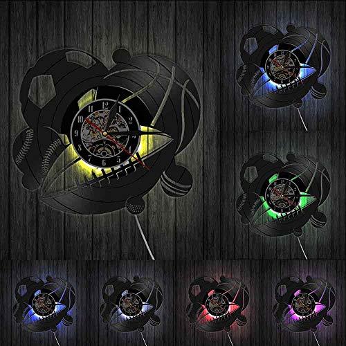 Reloj de pared con diseño de bolas deportivas para decoración del hogar, de fútbol, baloncesto, golf, béisbol, golf, pelota de golf, vintage, vinilo, reloj de pared, regalo deportivo con luces LED