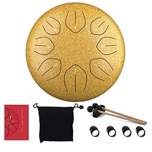 RUIXFFT Tambor De Lengua De Acero, 8 Notas, 6 Pulgadas, Tanque Colgante, Instrumento De Percusión De Tambor con Mazos De Tambor, Funda para Dedos, Bolsa De Transporte, Yellow