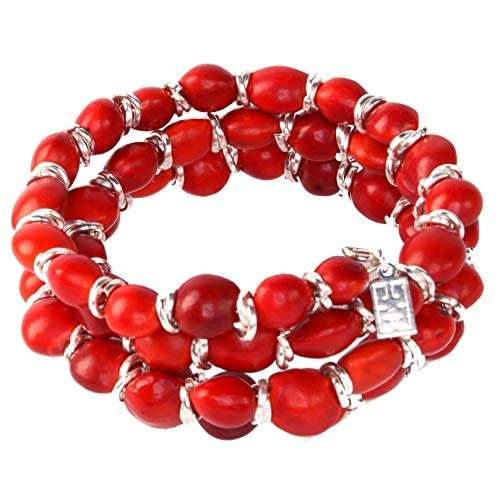 Peruvian Gift Bracelet for Women - Huayruro Red Seed Beads, Adjustable Wrap - Eco Handmade Jewelry by Evelyn Brooks
