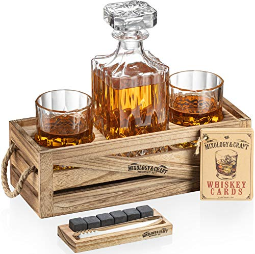 Whiskey Stones Gift Set for Men | Whiskey Decanter with Glasses Set and Wood Stand, 6 Granite Whiskey Chilling Stones and 10oz Whiskey Glasses | Whiskey Decanter Set For Men, Dad, Husband, Boyfriend