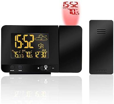 AOLVO Reloj Despertador con proyección Digital con higrómetro para Interior, Cargador USB, Reloj Despertador