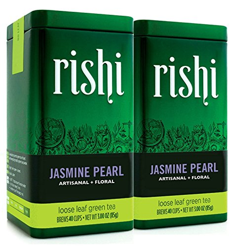 Rishi Jasmine Pearl Green Tea,  Loose Leaf Tea, 3 Oz Tin (Pack of 2)