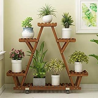PPCP Mobile Wood Preservative Wooden Multi-Storey Indoor and Outdoor Living Room Balcony Floor-Standing Flower Stand Plant...
