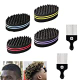 SoundZero 4 pièces Eponge Twist Curl Brosse à Cheveux éponge & 2 Peigne afro en métal pour Cheveux Gros Trous Éponge Coiffeur Afro Boucle Bobine Vague Dreads Twist Verrouillage Outil pour Style Afro