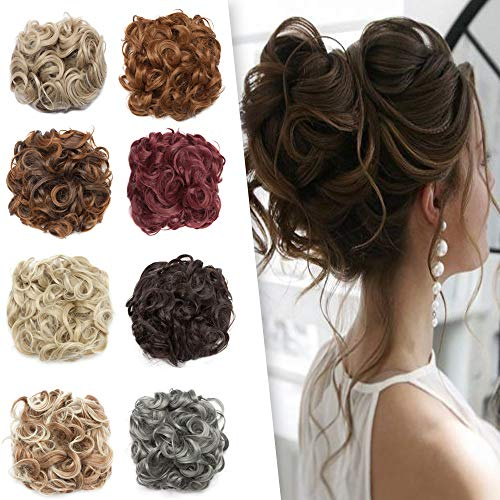Messy Curly Combs Hair Bun Extensions Highlight Easy Stretch Hair Dish Chignon Clip in Updo Hairpiece Ponytail Scrunchy Accessory for Women 95g #27H613 Blonde