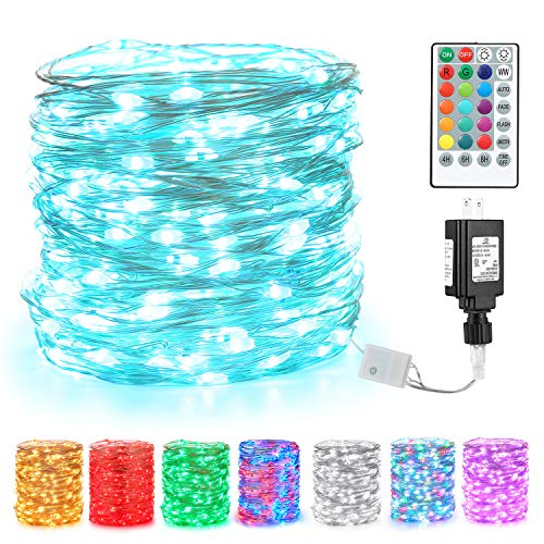 BrizLabs Fairy String Lights, 66ft 200 LED Color Changing Fairy Lights with Remote, Muti-Color Purple Halloween Plug in Twinkle Lights, RGB Light String for Bedroom Indoor Halloween Christmas Decor