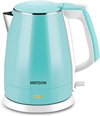 MEISON Electric Kettle(BPA Free), Double Wall Hot Water Boiler Heater, 100% Food Grade Stainless Steel Interior, Cool Touch Electric Teapot Heater Kettle, Auto Shut-Off and Boil-Dry Protection, Cordless, 1.5L, 2 Year Warranty
