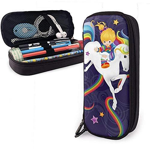 Estuche de lápices de cuero Rainbow Brite y Starlite Memories Útiles escolares para la escuela secundaria de secundaria Collage Office