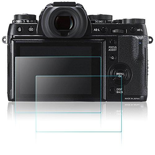 AFUNTA Protector de Pantalla para Cámara Fujifilm X-T1 X-T2, 2 Paquetes Anti-Arañazos de Cristal Templado óptico para Fuji XT1 XT2