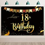 HOWAF 18 Cumpleaños Decoración Negro y Oro, Extra Grande 18 Cumpleaños Foto Prop Fondo Pancarta con Cuerda, Tela Póster Fondo para 18 Años Cumpleaños Fiesta Artículos Materiales