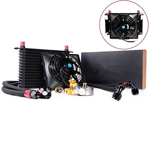 Gowe universel 15 rangée Thermostat adaptateur Transmission Moteur 10 refroidisseur d'huile + 17,8 cm ventilateur