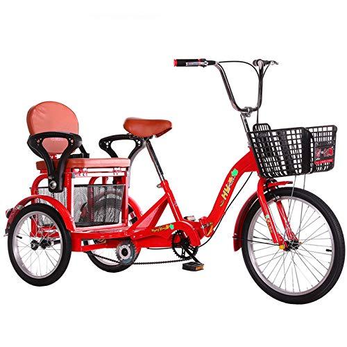 SN Seguridad Triciclo Adulto Plegable 3 Rueda Bicicleta Tres Rueda Crucero Bicicleta 20 Pulgadas Sola Velocidad con Asiento Trasero Y Cesta Asiento Ajustable Y Manillar Rojo Ciudad Calle