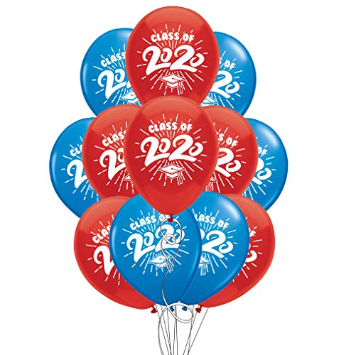 School Colors Graduation 11' Latex Balloons - Pack of 12 (2020, Blue & Red)