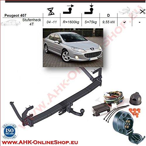 AHK Remolque con eléctrico Juego de 7pines para Peugeot 4074d 2004–2008anhängev orrichtung–Colgar fijo, con angeschraubtem Rótula