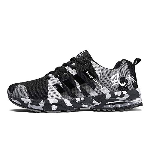 HWTOP Herren Sneakers Sportschuhe Laufschuhe Flache Turnschuhe Fashion Männer Schnürstiefel Schuhe Leichte Schuhe Outdoor Freizeitschuhe Fitnessschuhe mit Klettverschluss (45 EU, Schwarz)