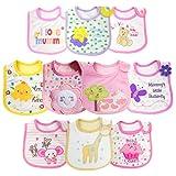 Dosolsollasol 10pcs Baberos Impermeables Bebe Baberos de Bebé con Estampados Diferentes para Bebé Recien Nacido Unisex (Rosa)