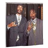 Duckmole Tupac Shower Curtain Single-Sided Printing Bathroom with 12 Plastic Hooks 66' W X 72' H