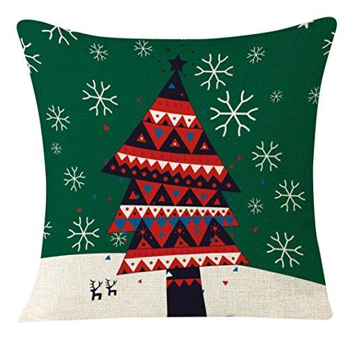 45x 45cm + federe, guscio decorativo quadrato federa Home auto divano cuscino Kingko Serie di Natale (F)
