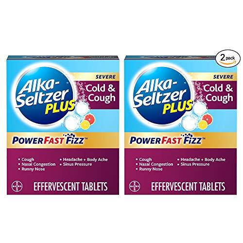 ALKA-SELTZER PLUS Severe Cold Cough Powerfast Fizz Effervescent Tablets Twinpack 2x20ct, White, Citrus, 40 Count