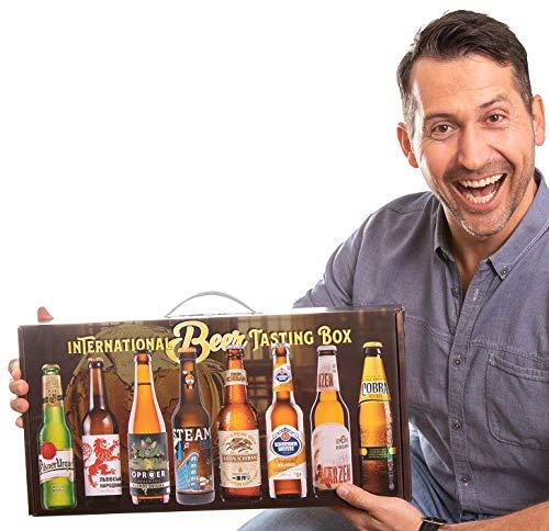 International Beer-Tasting-Box | Bierspezialitäten aus aller Welt | 8 x 0,33 L | Geschenk-Idee für Männer mit praktischem Tragegriff