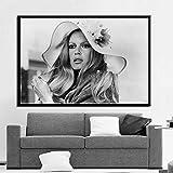 zhuziji Imprimir Lienzo de Pintura Actriz Estrella de Cine Pintura en Blanco y Negro Pared Imprime Regalo Lienzo Arte de la Pared Imagen Decoración Moderna del hogar 40x60cm(Sin Marco)