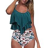 Bikinis Mujer Top con Volantes Braga de Color Liso Traje de Baño Cintura Alta Control de Barriga Biquini Braguitas Verano