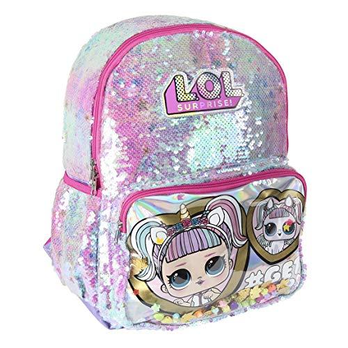 L O L Surprise! Mädchen Rucksack, Großer Schulrucksack für Kinder, 3D Pailletten Holographic Einhorn und Unipony Design! Geschenk für Mädchen!