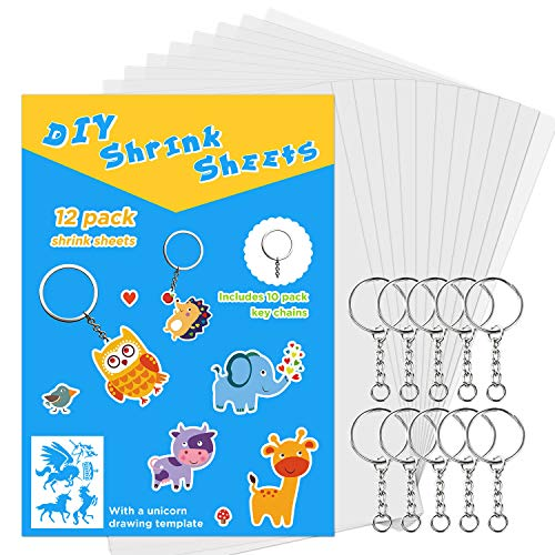 SoFire 12 Sheets Semitransparent Shrink Film Shrinky Art Film Paper with 10 Pack Key Chains and One Shrinky Paper with Pattern (Blank Sheet)