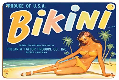 Bikini Brand – Produce of U.S.A. – Etiqueta vintage de caja de fruta c.950s – 8 x 12 pulgadas Vintage Wood Art Sign