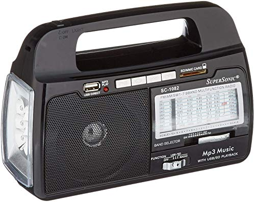 SuperSonic SC-1082 9-Band AM/FM Portable Radio - USB Compatible/SD Card Slot - Rechargeable Battery