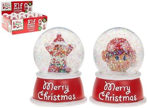"""2 glitzernde Schneekugeln mit Elf,  Aufschrift """"Merry Christmas"""", traditioneller Weihnachtsschmuck."""