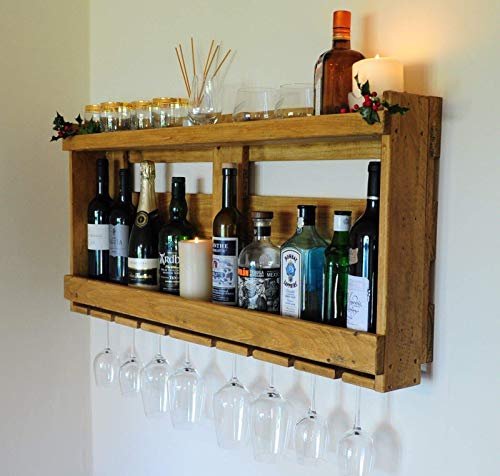 Upcycled Pallet Wood Drinks Rack, Wine, Whisky, Gin, Drinks Rack, Whiskey Shelf, Recycled Wood