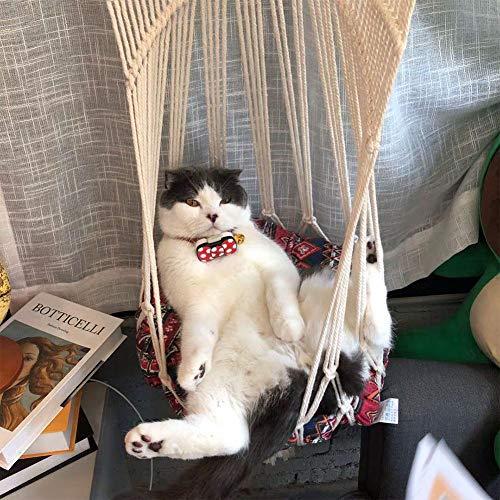 Cat Hammock X 1 Expansionsschraube X2, Handgewebte Cat Hammock Kitten Cage Makramee Hängematte Bett Hängenden Weichen Stuhl Für Die Inneneinrichtung