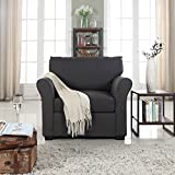 Divano Roma Furniture Classic and Traditional Linen Fabric Accent Chair-Living Room Armchair (Dark Grey)