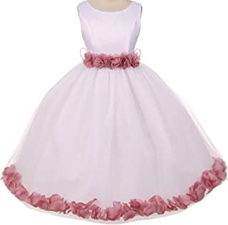 Little Girls Elegant Satin Ribbon Sash Petals Flowers Girls Dresses