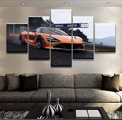 COCOCI 5 Piezas De Lienzo Orange Sport Car Wall Art Lienzos Decorativos XXL Cuadros Modernos Baratos Cuadros para Pasillo Cuadros Decorativos Cuadros para Dormitorios Modernos