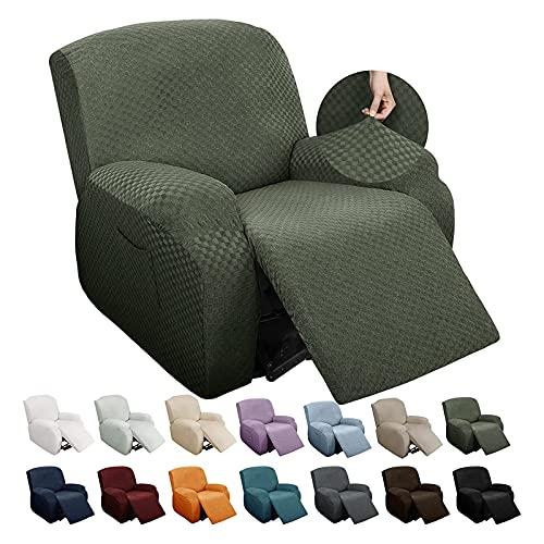 Funda reclinable elástica jacquard, 1 plazas Funda reclinable para reclinable de cuatro piezas Funda de sillón antideslizante con bolsillos laterales Funda para sofá adecuada para sillón reclinable
