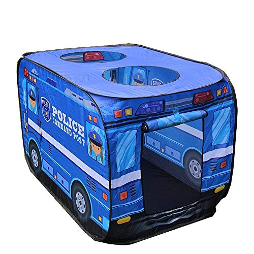 COSANSYS Portable Police Car Pop Up Play Tent for kids Folding Fabric Playhouse Bus Game House for Indoor Outdoor Cosplay Use as Birthday present,Children's day gift (blue)