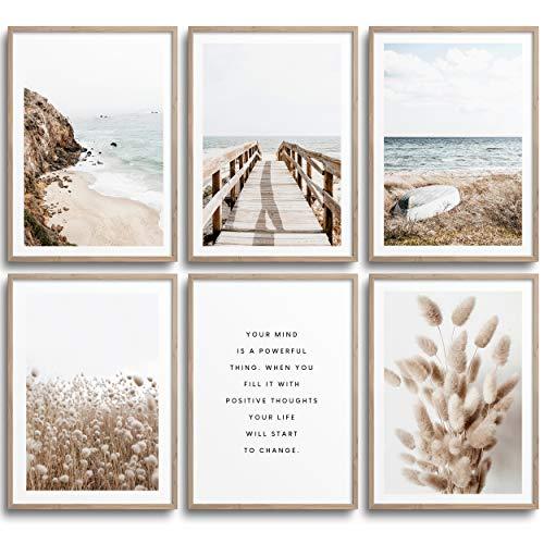 MONOKO® Wohnzimmer Poster Set - Schlafzimmer Bilder Set Premium - Stilvolle Wandbilder - 6er Set ohne Rahmen (Set Beige, Pampasgras, Meer, 6x A4 (21 x 29,7cm))