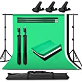 Abeststudio Studio Photo Portable Backdrop Stand Kit - 6.5 x 6.5 ft Stand + 3 x 10ft(L) x 6ft(W) Photography Backgrounds (Green/Black/White) + 3 Backdrop Clamps + Carry Bag