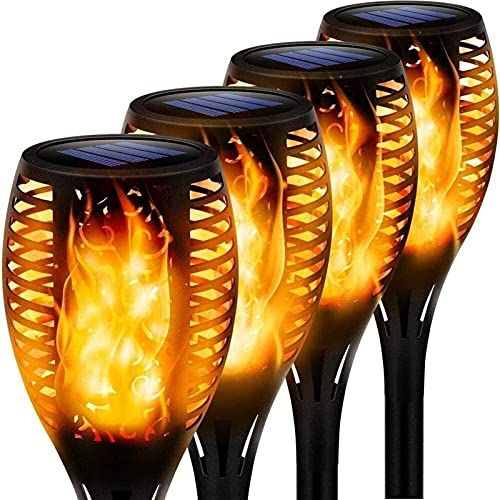 SKYWPOJU Solar Garden Torches 4 Pieces LED Torch Lights With Dancing Flame IP65 Waterproof Auto On/Off Solar Lamp For Outside