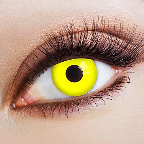 aricona Kontaktlinsen Farblinsen – leuchtend gelbe Kontaktlinsen – farbige Kontaktlinsen ohne Stärke für dein Halloween Kostüm