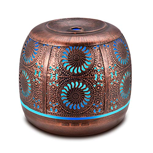 Ominihome Essential Oil Diffuser, 500ml Metal Diffuser for Essential Oils, Waterless Auto Shut-Off , Ultrasonic Cool Mist Humidifier, Aromatherapy Diffuser for Large Room, Gift Idea
